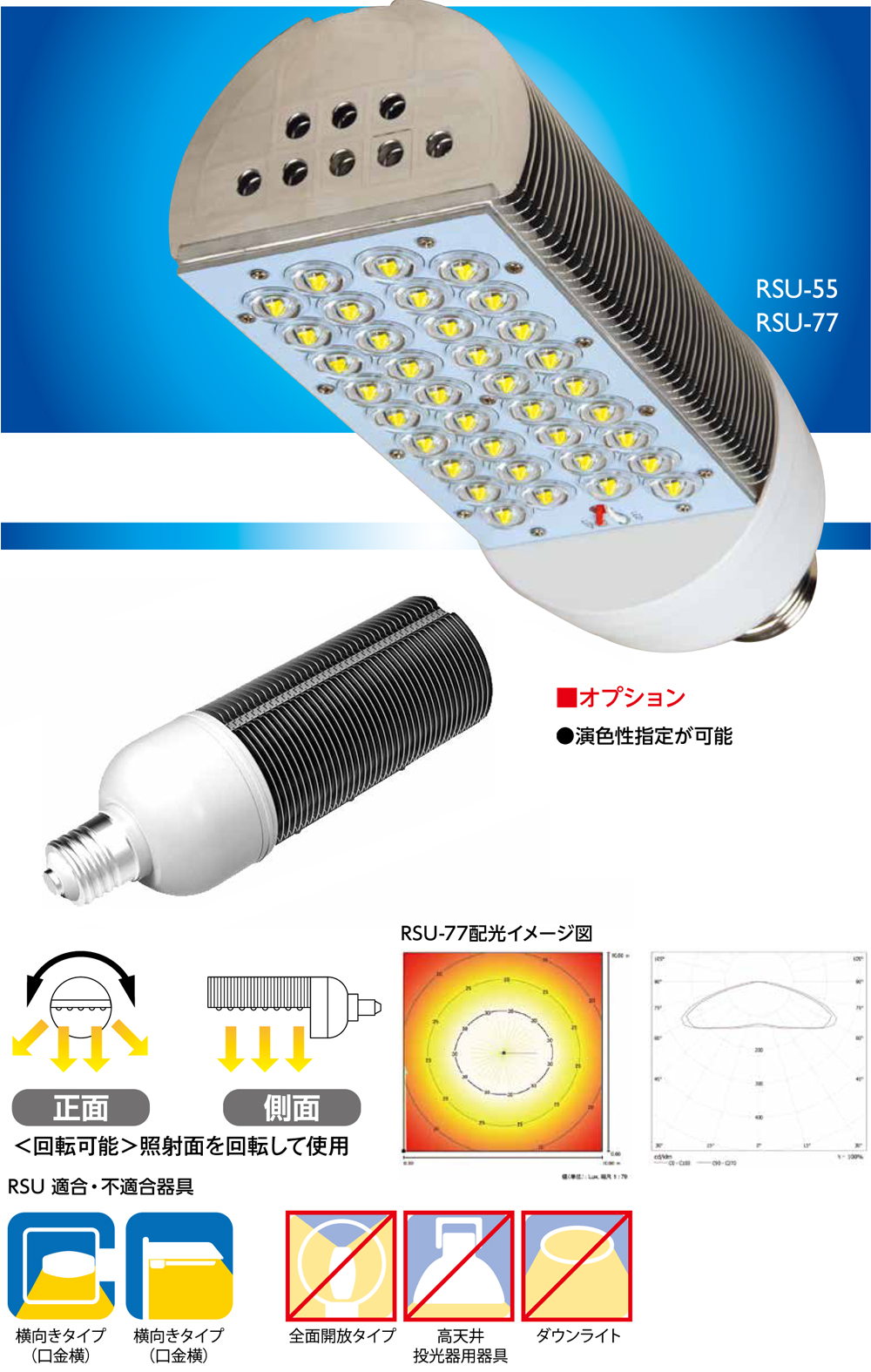 LED照明 ジダイオ RSU E26 E39